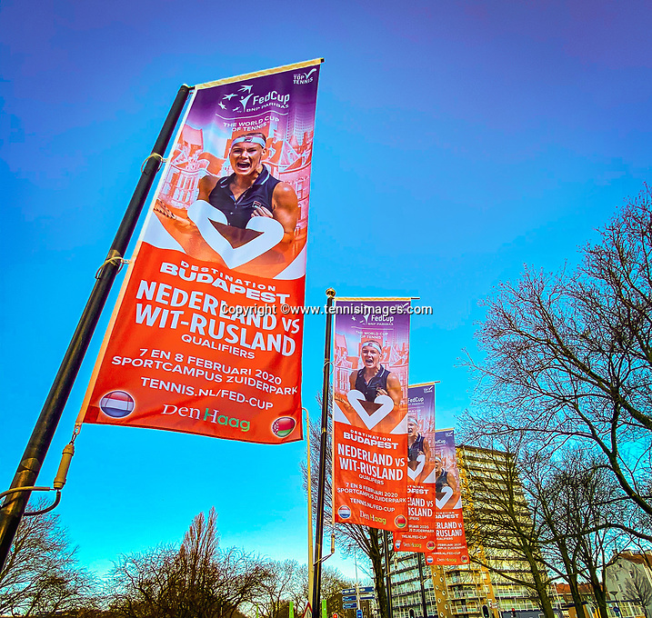 The Hague, The Netherlands, Februari 6, 2020,    Sportcampus, FedCup  Netherlands -  Balarus, Flagg's in the City<br /> Photo: Tennisimages/Henk Koster