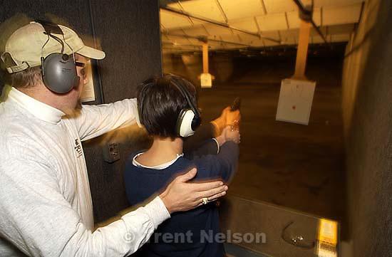 Springville - Tribune intern Julie Caine at Rangemasters firing range. 01.14.2003, 8:30:35 PM<br />
