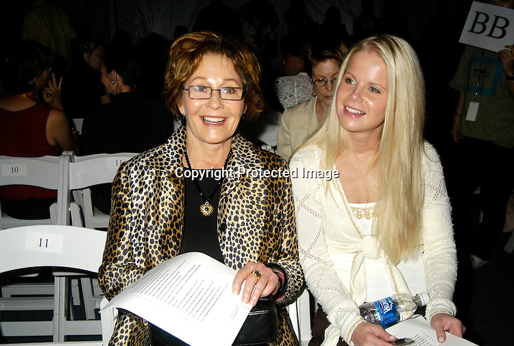 ..Marj Dusay and Crystal Hunt ..at The Pamella Roland Spring 2006 FAshion Show on ..September 13, 2005 at the Tents at Olympus Fasion Week. ..Photo by Robin Platzer, Twin Images