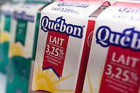 3.25% Quebon milk with French Label are seen in a Metro grocery store in Quebec city March 4, 2009. Quebon is a brand of Agropur.