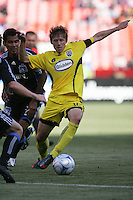 Brian Carrol controls the ball. The Columbus Crew defeated the San Jose Earthquakes 3-0 at Candlestick Park in San Francisco, California on August 8, 2009.