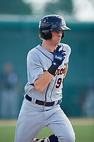 Detroit Tigers left fielder Kingston Liniak (9) runs to first base during a Florida Instructional League game against the Pittsburgh Pirates on October 2, 2018 at the Pirate City in Bradenton, Florida.  (Mike Janes/Four Seam Images)