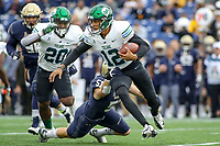 Annapolis, MD - October 26, 2019: Tulane Green Wave quarterback Justin McMillan (12) breaks a tackle during the game between Tulane and Navy at  Navy-Marine Corps Memorial Stadium in Annapolis, MD.   (Photo by Elliott Brown/Media Images International)