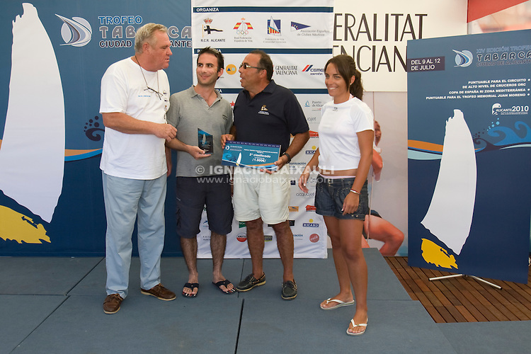 Entrega de Trofeos .XIV TROFEO TABARCA CIUDAD DE ALICANTE.Real Club de Regatas de Alicante, 9 al 12 de Julio de 2009