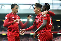 Liverpool's Sadio Mane celebrates scoring his side's first goal with his team-mates Trent Alexander-Arnold and Roberto Firmino<br /> <br /> Photographer Richard Martin-Roberts/CameraSport<br /> <br /> The Premier League - Liverpool v Chelsea - Sunday 14th April 2019 - Anfield - Liverpool<br /> <br /> World Copyright © 2019 CameraSport. All rights reserved. 43 Linden Ave. Countesthorpe. Leicester. England. LE8 5PG - Tel: +44 (0) 116 277 4147 - admin@camerasport.com - www.camerasport.com