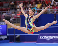 September 14, 2018 - Sofia, Bulgaria - ANASTASIA SALOS of Belarus performs during AA final at 2018 World Championships.