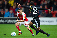 Fleetwood Town's Ashley Hunter vies for possession with Shrewsbury Town's Josh Laurent<br /> <br /> Photographer Richard Martin-Roberts/CameraSport<br /> <br /> The EFL Sky Bet League One - Fleetwood Town v Shrewsbury Town - Saturday 13th October 2018 - Highbury Stadium - Fleetwood<br /> <br /> World Copyright &copy; 2018 CameraSport. All rights reserved. 43 Linden Ave. Countesthorpe. Leicester. England. LE8 5PG - Tel: +44 (0) 116 277 4147 - admin@camerasport.com - www.camerasport.com