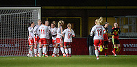 20161128 - TUBIZE ,  BELGIUM : Danish players celebrating their opening goal  pictured during the female soccer game between the Belgian Red Flames and Denmark , a friendly game before the European Championship in The Netherlands 2017  , Monday 28 th November 2016 at Stade Leburton in Tubize , Belgium. PHOTO SPORTPIX.BE | DIRK VUYLSTEKE