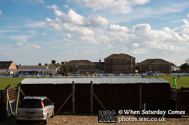 Lowestoft Town 2 Barrow 3, 25/04/2015. Crown Meadow, Conference North. Barrow make the six-hour trip to Suffolk needing a win to secure the title. A view of the match from behind the North end of the ground. Photo by Simon Gill.