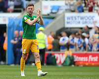 Preston North End's Paul Gallagher applauds the fans at the final whistle <br /> <br /> Photographer David Shipman/CameraSport<br /> <br /> The EFL Sky Bet Championship - Wigan Athletic v Preston North End - Monday 22nd April 2019 - DW Stadium - Wigan<br /> <br /> World Copyright © 2019 CameraSport. All rights reserved. 43 Linden Ave. Countesthorpe. Leicester. England. LE8 5PG - Tel: +44 (0) 116 277 4147 - admin@camerasport.com - www.camerasport.com