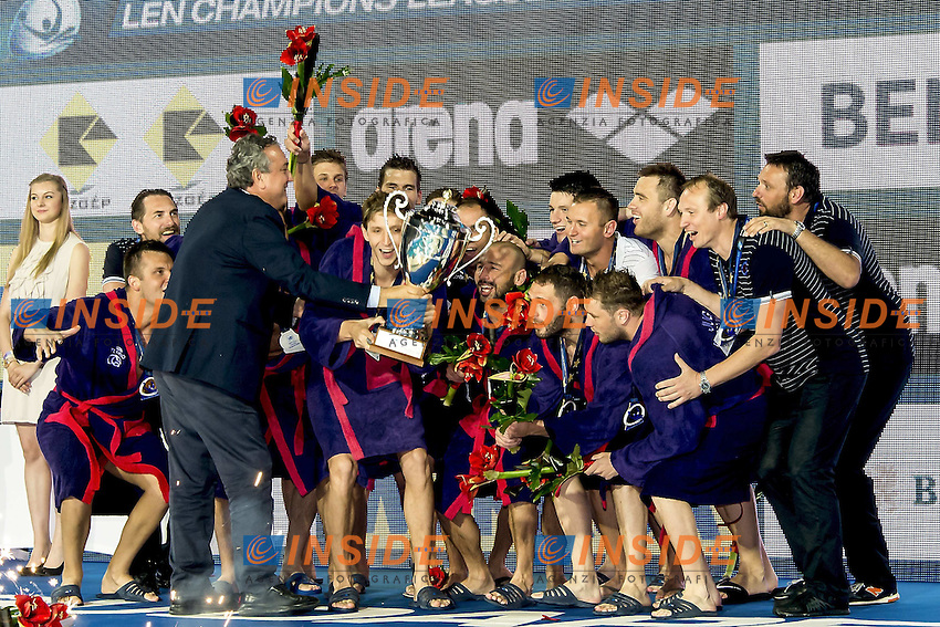Jug Dubrovnik European Champion 2016 Water Polo LEN <br /> Trophy Ceremony<br /> Budapest, Alfred Hajos National Swimming Complex<br /> LEN 2016 Water Polo Champions League Final Six<br /> Budapest HUN June 2 - 5, 2016<br /> Day 3 June 4, 2016<br /> Photo Giorgio Scala/Deepbluemedia/Insidefoto