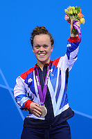 PICTURE BY ALEX BROADWAY /SWPIX.COM - 2012 London Paralympic Games - Day Ten - Swimming, Aquatic Centre, Olympic Park, London, England - 08/09/12 - Eleanor Simmonds of Great Britain poses with her Silver Medal after the Women's 100m Freestyle S6 Final.