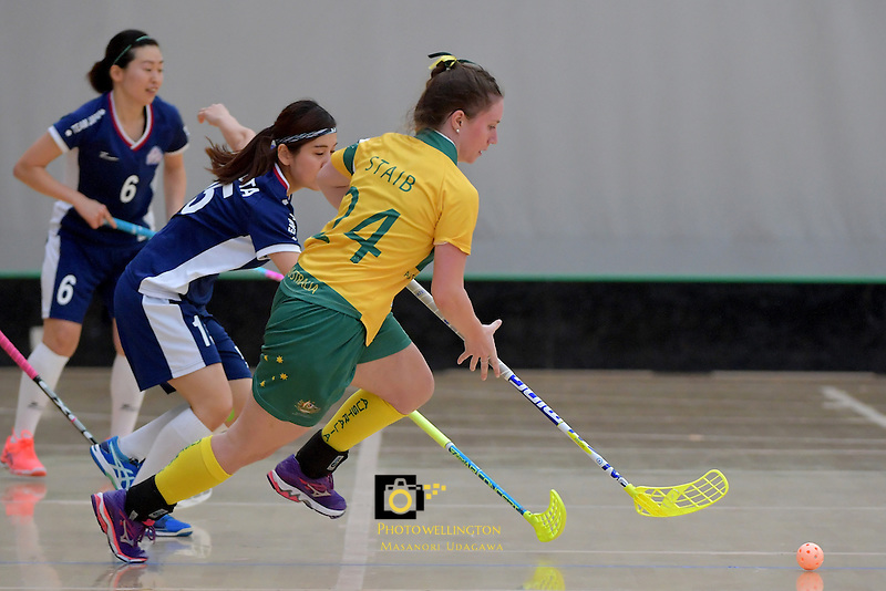 Australia's Alexandra Staib in action during the World Floorball Championships 2017 Qualification for Asia Oceania Region Final - Australia v Japan at ASB Sports Centre , Wellington, New Zealand on Sunday 5 February 2017.<br /> Photo by Masanori Udagawa<br /> www.photowellington.photoshelter.com.