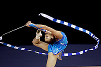 September 25, 2003; Budapest, Hungary; HANNA OBERHOFER of Austria performs with ribbon at 2003 World Championships.