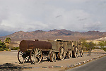 Historic weathered wenty Mule Team borax wagon on display, Furnace Creek Ranch, Death Valley National Park, Calif.