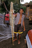 young fisherman holds up backbone of dolphin at Barrouallie, St. Vincent, the only town on the island where whales and dolphins are still harpooned, Saint Vincent and the Grenadines, West Indies, Caribbean, Atlantic