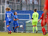 20191221 - WOLUWE: Gent's Jasmien Mathys scores (left next to the ball) while Woluwe's goal keeper Natasha Ribbens (1) (right) looks dejected during the Belgian Women's National Division 1 match between FC Femina WS Woluwe A and KAA Gent B on 21st December 2019 at State Fallon, Woluwe, Belgium. PHOTO: SPORTPIX.BE | SEVIL OKTEM