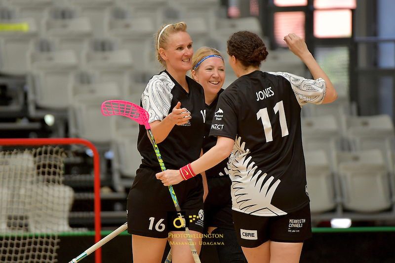 New Zealand's Nicolette Jones in action during the World Floorball Championships 2017 Qualification for Asia Oceania Region - New Zealand v Korea at ASB Sports Centre , Wellington, New Zealand on Sunday 5 February 2017.<br /> Photo by Masanori Udagawa<br /> www.photowellington.photoshelter.com.