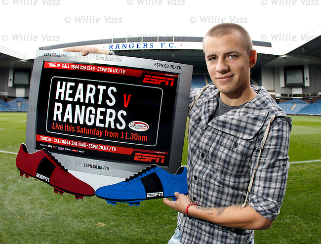 Vladimir Weiss at Ibrox Stadium as he promotes ESPN's live Saturday match against Hearts