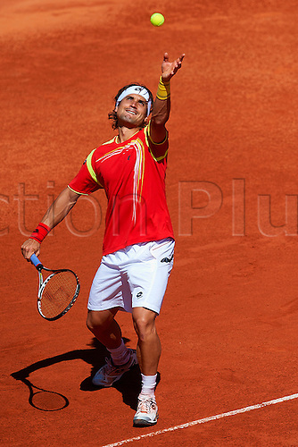 06.04.2012 Oropesa, Spain. Quarter Final Davis Cup. David Ferrer in action during second match of Quarter finals  game of Davis Cup played at Oropesa town.