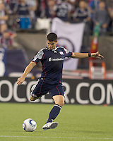 New England Revolution defender Franco Coria (2) passes the ball. In a Major League Soccer (MLS) match, the Los Angeles Galaxy defeated the New England Revolution, 1-0, at Gillette Stadium on May 28, 2011.