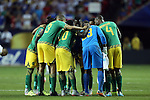 22 July 2015: Jamaica's starters huddle before the game. The United States Men's National Team played the Jamaica Men's National Team at the Georgia Dome in Atlanta, Georgia in a 2015 CONCACAF Gold Cup semifinal match. Jamaica won the game 2-1.