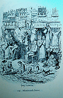 "London: Historical George Cruikshank's  ""Monmouth Street"". (Monmouth is the Northern extension of St. Martin's Lane, after 7 dials. Dickens, SKETCHES BY BOZ, 1839.  Reference only."