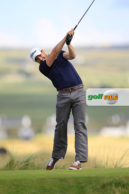 Mark Morrissey (Mount Wolsely) on the 2nd tee during the South of Ireland Amateur Open Championship Second Round at Lehinch Golf Club  28th July 2013 <br /> Picture:  Thos Caffrey / www.golffile.ie