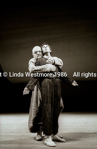 "King Lear (Anthony Hopkins) and Fool (Roshan Seth) in  ""King Lear"" by William Shakespeare at the National Theatre, London 1986.  Directed by David Hare and designed by Hayden Griffin."