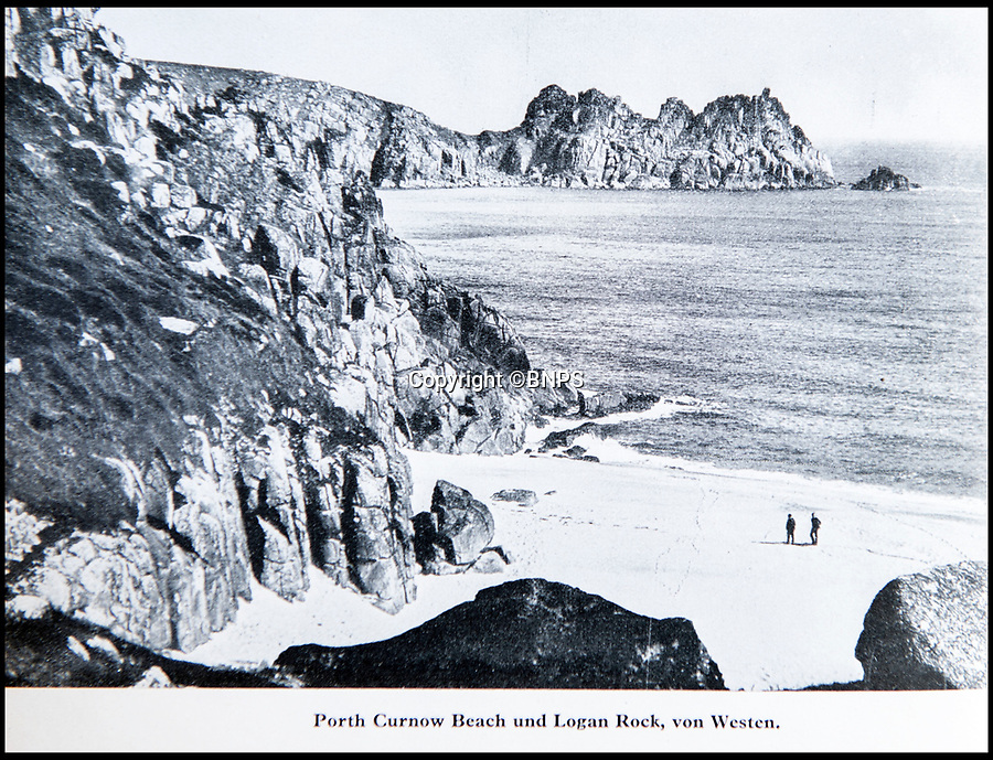 BNPS.co.uk (01202 558833)<br /> Pic: PhilYeomans/BNPS<br /> <br /> Photographed - Porthcurno Beach in Cornwall where Britain's communication network to the rest of the world came ashore.<br /> <br /> Chilling - Hitlers 'How to' guide to the invasion of Britain.<br /> <br /> A remarkably detailed invasion plan pack of Britain has been unearthed to reveal how our genteel seaside resorts would have been in the front line had Hitler got his way in World War Two.<br /> <br /> The Operation Sea Lion documents, which were issued to German military headquarters' on August 1, 1940, contain numerous maps and photos of every town on the south coast.<br /> <br /> They provide a chilling reminder of how well prepared a German invading force would have been had the Luftwaffe not been rebuffed by The Few in the Battle of Britain.<br /> <br /> There is a large selection of black and white photos of seaside resorts and notable landmarks stretching all the way from Land's End in Cornwall to Broadstairs in Kent.<br /> <br /> The pack also features a map of Hastings, raising the possibility that a second battle could have been staged there, almost 900 years after the invading William The Conqueror triumphed in 1066.