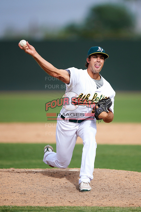 Oakland Athletics minor league pitcher Seth Streich #58 during an instructional league game against the Arizona Diamondbacks at the Papago Park Baseball Complex on October 11, 2012 in Phoenix, Arizona. (Mike Janes/Four Seam Images)