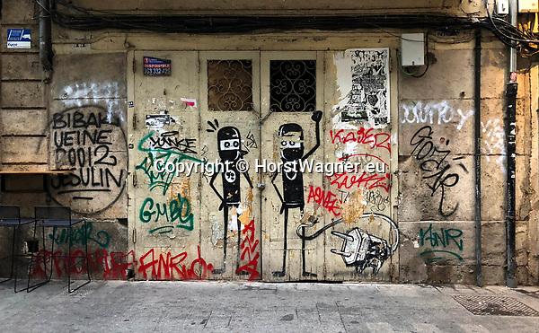 Valencia-Spain, January 06, 2018; <br /> street art / graffiti by i.a. David de Lim&oacute;n (Limon);<br /> Photo &copy; HorstWagner.eu