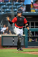 Jacksonville Jumbo Shrimp catcher Rodrigo Vigil (6) during a game against the Biloxi Shuckers on June 8, 2018 at Baseball Grounds of Jacksonville in Jacksonville, Florida.  Biloxi defeated Jacksonville 5-3.  (Mike Janes/Four Seam Images)