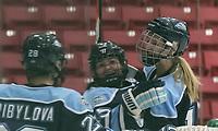 Boston, Massachusetts - January 6, 2018: NCAA Division I. University of Maine (blue) defeated Boston University (white), 4-1, at Walter Brown Arena.<br /> Goal celebration.