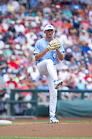 North Carolina Tar Heels pitcher Kent Emanuel #41 pitches during Game 3 of the 2013 Men's College World Series between the North Carolina State Wolfpack and North Carolina Tar Heels at TD Ameritrade Park on June 16, 2013 in Omaha, Nebraska. The Wolfpack defeated the Tar Heels 8-1. (Brace Hemmelgarn/Four Seam Images)