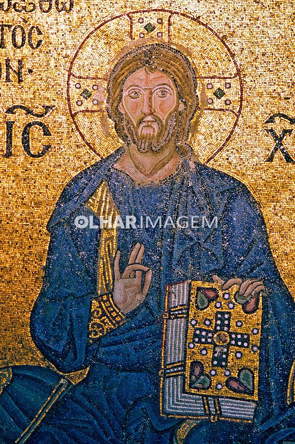 Mosaico de Jesus Cristo. Basílica Santa Sofia em Istambul. Foto de Ricardo Azoury.