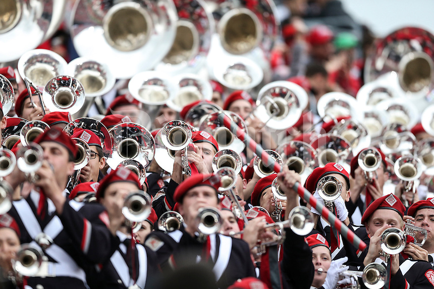 OSU band members play and cheer during Saturday's game in Columbus, Ohio on Saturday, Oct. 19, 2013. (Jabin Botsford / The Columbus Dispatch)