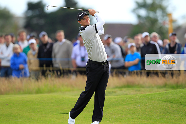 Justin Rose (ENG) plays his 2nd shot on the 14th hole during Friday's Round 2 of the 141st Open Championship at Royal Lytham & St.Annes, England 20th July 2012 (Photo Eoin Clarke/www.golffile.ie)