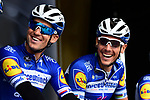 Zdenek Stybar (CZE) and Philippe Gilbert (BEL) Deceuninck-Quick Step on stage at the team presentation before Stage 1 of the Criterium du Dauphine 2019, running 142km from Aurillac to Jussac, France. 9th June 2019<br /> Picture: ASO/Alex Broadway | Cyclefile<br /> All photos usage must carry mandatory copyright credit (© Cyclefile | ASO/Alex Broadway)