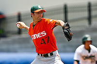 May 31, 2009:  NCAA Division 1 Gainesville Regional:     Miami starting pitcher David Guitierrez (47) pitched a 7 hit complete game shutout during 2nd round regional action at Alfred A. McKethan Stadium on the campus of University of Florida in Gainesville.  Miami Hurricanes eliminated Jacksonville 4-0 and will advance to the finals against Florida............