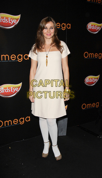 CAROL VORDERMAN.Launch of Omega Fish Restaurant, Covent Garden, London, England..October 25th, 2007.full length cream dress white necklace tights beige shoes .CAP/ROS.©Steve Ross/Capital Pictures