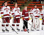 John Caldwell (Harvard - 15), Danny Biega (Harvard - 9), Nathan Potvin, Ryan Carroll (Harvard - 35) - The Harvard University Crimson defeated the visiting Colgate University Raiders 6-2 (2 EN) on Friday, January 28, 2011, at Bright Hockey Center in Cambridge, Massachusetts.