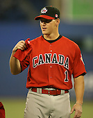 March 7, 2009:  Catcher Luke Carlin (1) of Canada during the first round of the World Baseball Classic at the Rogers Centre in Toronto, Ontario, Canada.  Team USA defeated Canada 6-5 in both teams opening game of the tournament.  Photo by:  Mike Janes/Four Seam Images