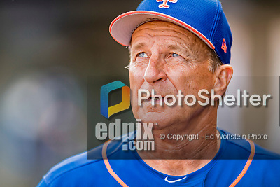 28 February 2019: New York Mets Bench Coach Jim Riggleman looks out from the dugout after a Spring Training game against the St. Louis Cardinals at Roger Dean Stadium in Jupiter, Florida. The Mets defeated the Cardinals 3-2 in Grapefruit League play. Mandatory Credit: Ed Wolfstein Photo *** RAW (NEF) Image File Available ***