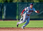 16 July 2017: Auburn Doubledays infielder Branden Boggetto in action against the Vermont Lake Monsters at Centennial Field in Burlington, Vermont. The Monsters defeated the Doubledays 6-3 in NY Penn League action. Mandatory Credit: Ed Wolfstein Photo *** RAW (NEF) Image File Available ***