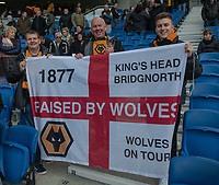 Wolverhampton fans<br /> <br /> Photographer David Horton/CameraSport<br /> <br /> The Premier League - Brighton and Hove Albion v Wolverhampton Wanderers - Saturday 27th October 2018 - The Amex Stadium - Brighton<br /> <br /> World Copyright &copy; 2018 CameraSport. All rights reserved. 43 Linden Ave. Countesthorpe. Leicester. England. LE8 5PG - Tel: +44 (0) 116 277 4147 - admin@camerasport.com - www.camerasport.com
