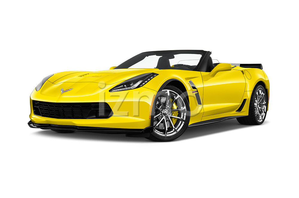 Stock pictures of low aggressive front three quarter view of 2018 Chevrolet Corvette Grand-Sport-3LT 2 Door Convertible Low Aggressive