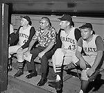Pittsburgh PA:  View of the dugout during the 1966 HYPO (help young players organize) Game between the Pittsburgh Pirates and Milwaukee Braves.  Celebrities include: Pie Traynor (far left), Pirate Pitcher Jim Weaver and Radio Personality Bill Hillgrove.<br />