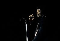 James Brown, circa 1986<br /> <br /> possiblement le 4 juillet 1986 au Festival de Jazz.<br /> <br /> PHOTO :  Agence Quebec Presse