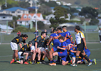 Action from the 2019 Hurricanes Secondary Schools Under-14 Boys' Rugby Tournament match between Wellington College and St Thomas College Christchurch at Wakefield Park in Wellington, New Zealand on Monday, 2 September 2018. Photo: Dave Lintott / lintottphoto.co.nz
